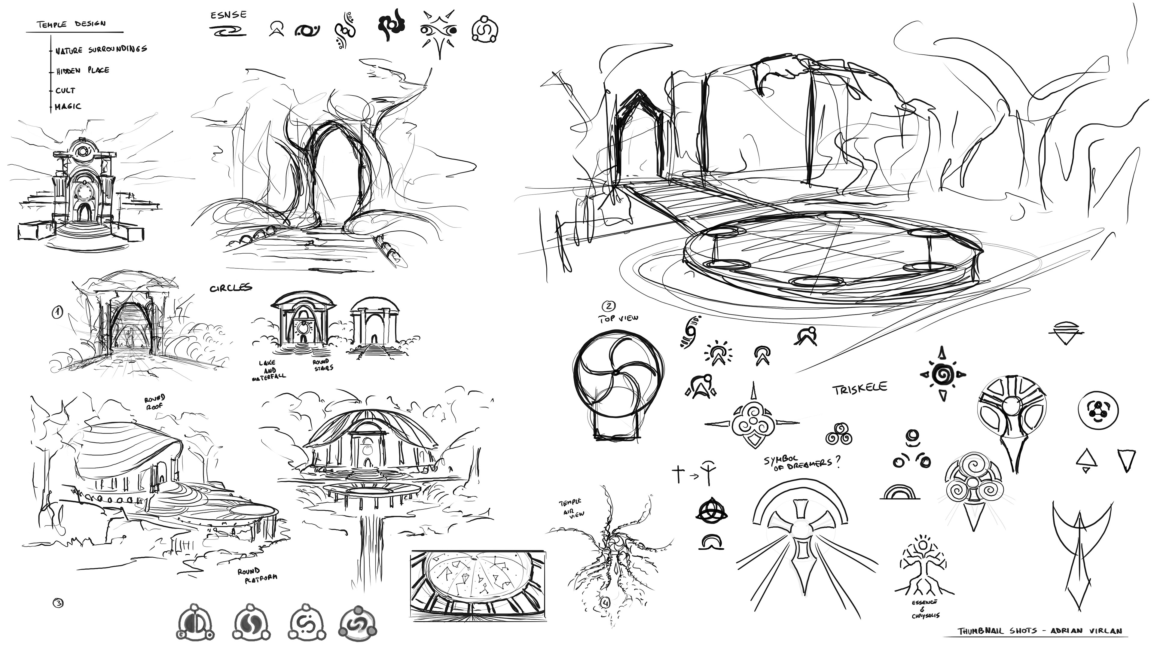 Dirtiest sketches figuring out symbols and surroundings of the ancient temple area.