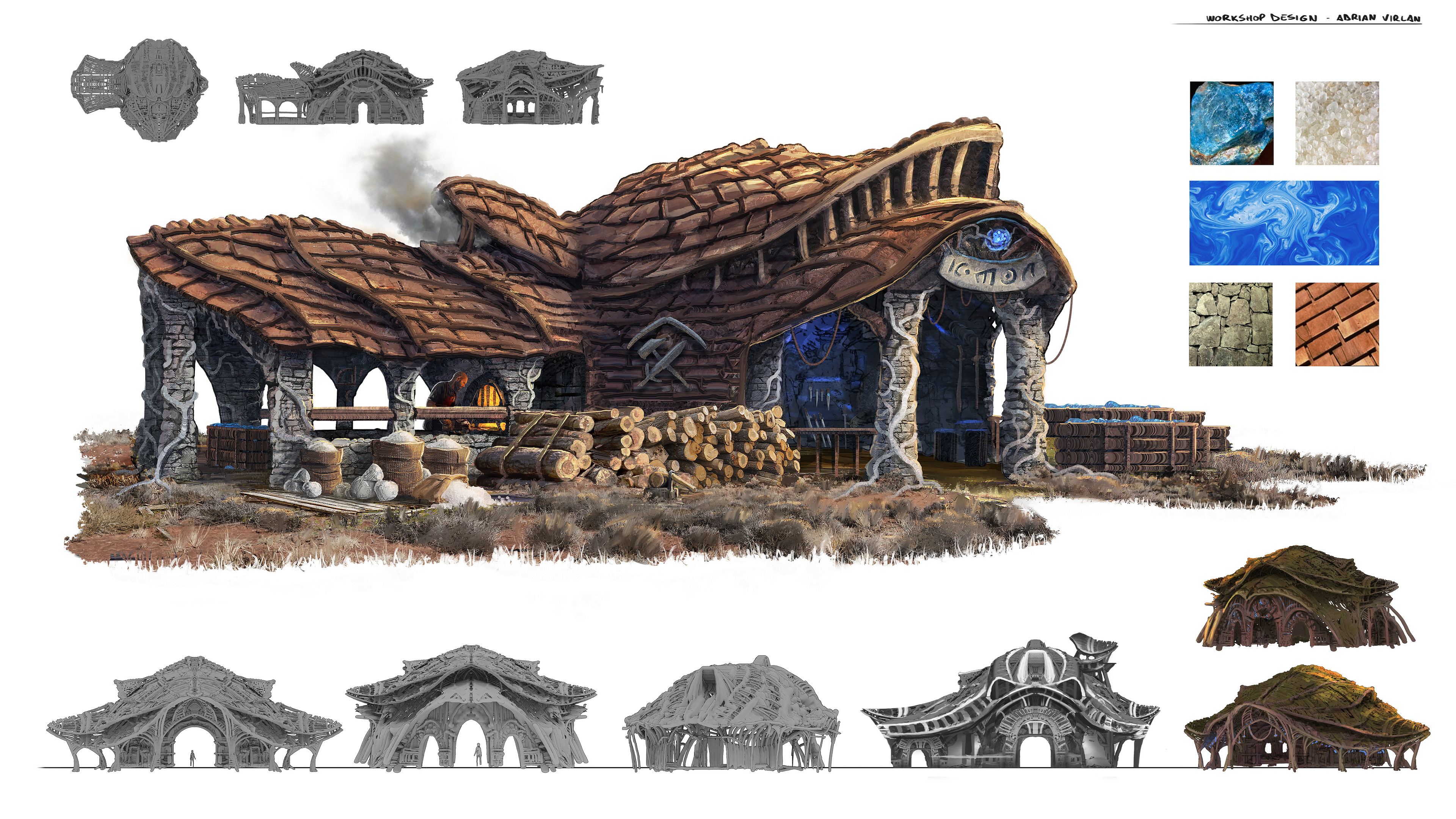 Design sheet for the entire building, textures and thumbnails included as reference to previous steps of design exploration stages.