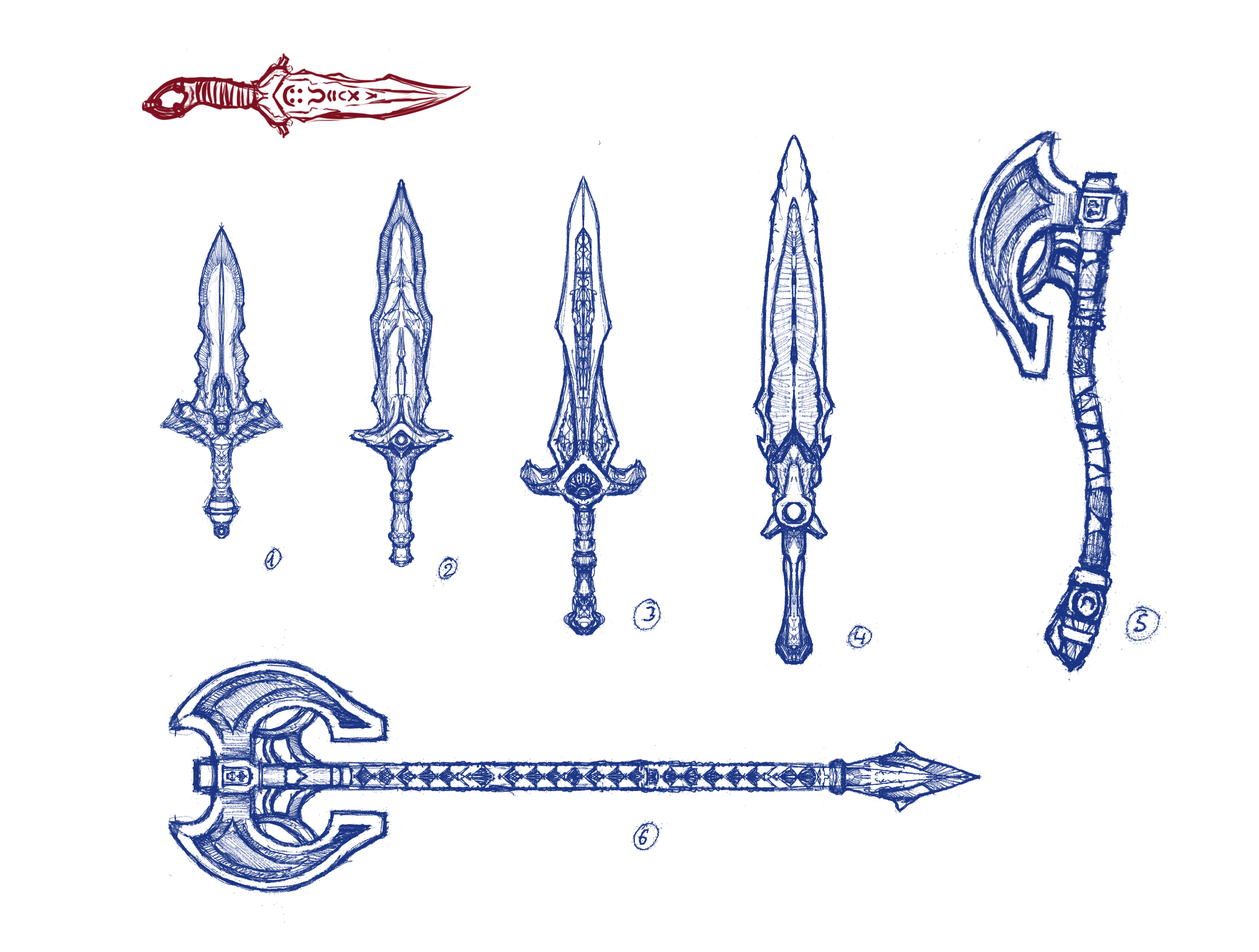 Some weapon sketches. I love that red dagger, I'm going that direction with the design of the main hero's weapon I think.
