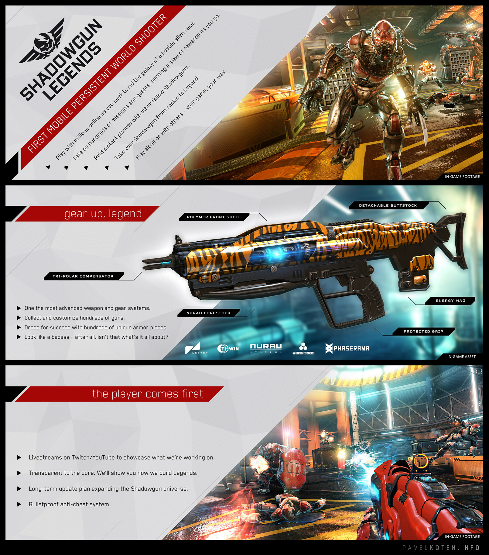 Few pages from the Gamescom 2016 press kit. I did concept, layout and print technicalities. Used screenshots taken by Michal Babjar / Pavel Cizek, weapon asset by Jan Zamazal.