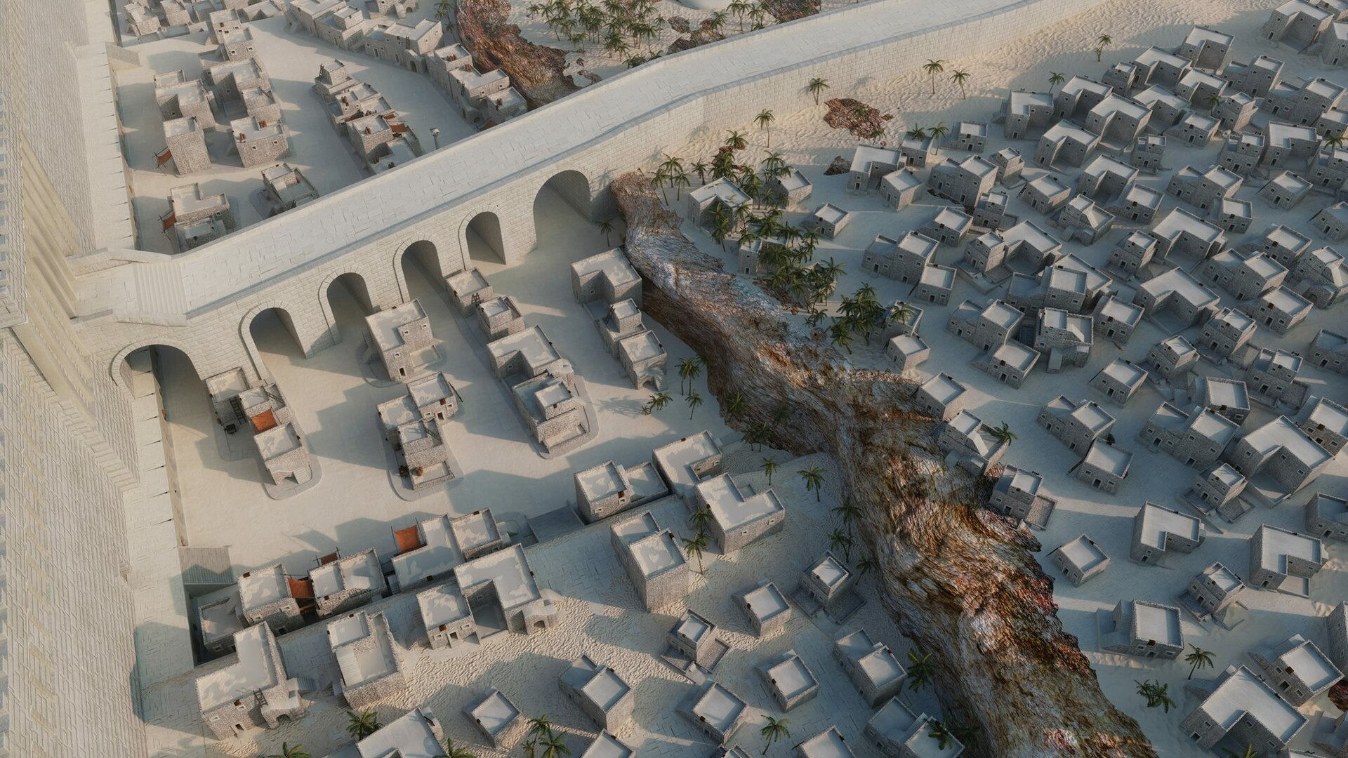Ancient Jerusalém - This scene was a team effort,  I was responsible for making part of the houses and props you can see in the image, as well as the bridge crossing it.