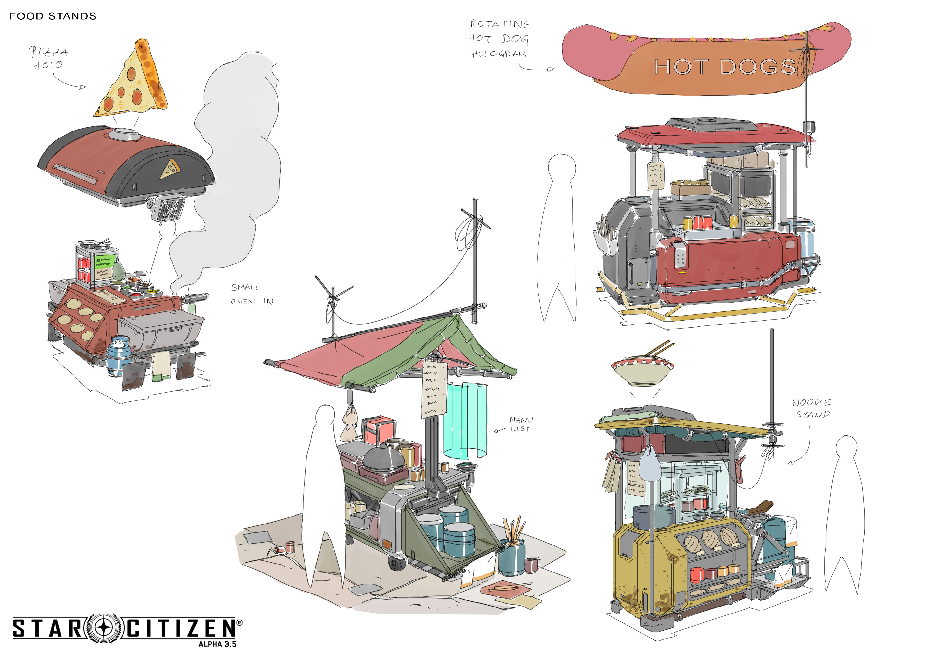 hot dog stands