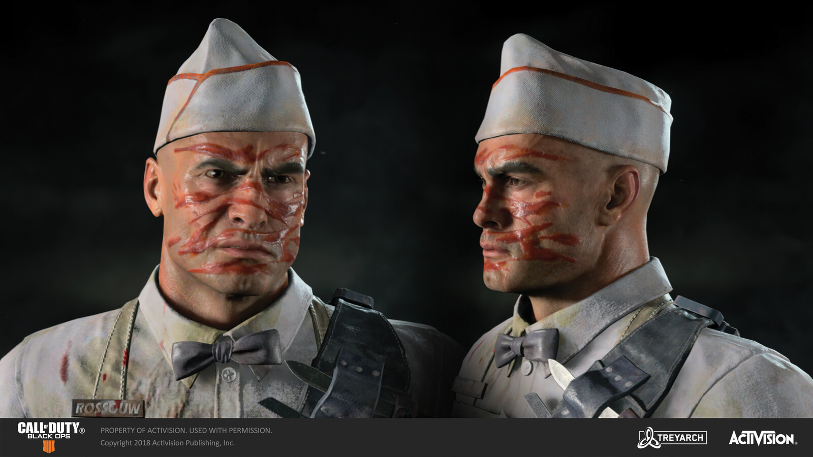 Responsible for texturing Ajax's ketchup tiger stripe warpaint for the 'Chef' skin, released during the Operation Z DLC. The body model was made by our external partners at Virtuos. The challenge in making the paint look like real ketchup was pretty fun!