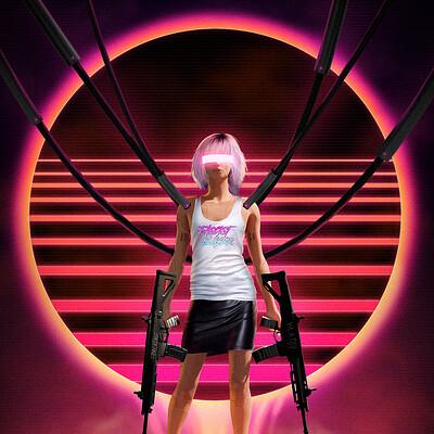 Travis lacey retro cyberpunk girl ravenseyestudios web