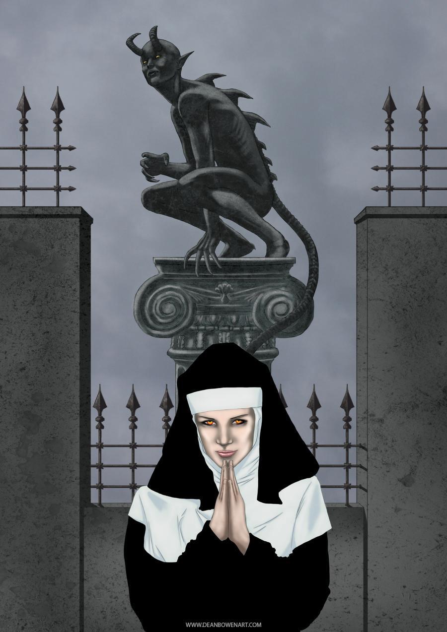 Dean bowen possessed nun digital painting by dean bowen
