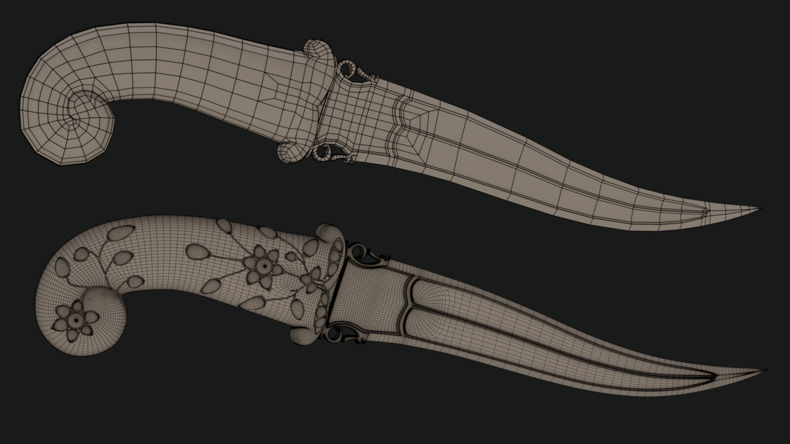 Dagger base design - wireframes. The base version without subdivision or extra decoration in the hilt is 1900 tris.