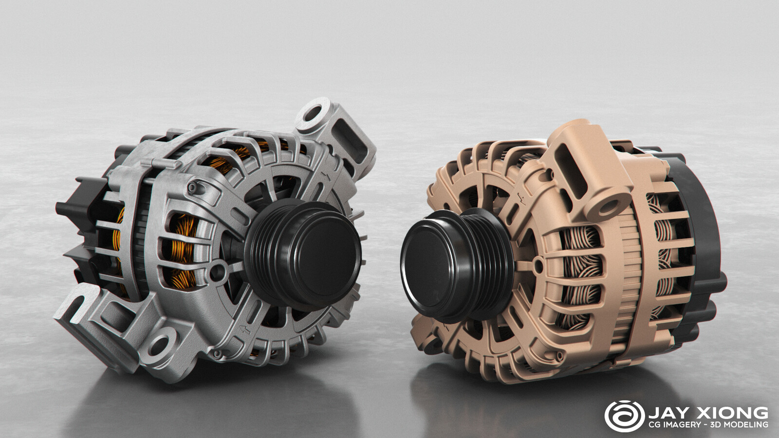 2019 GMC 250A High Output Alternator (CAD modeling for main body and polygons for internal wires)