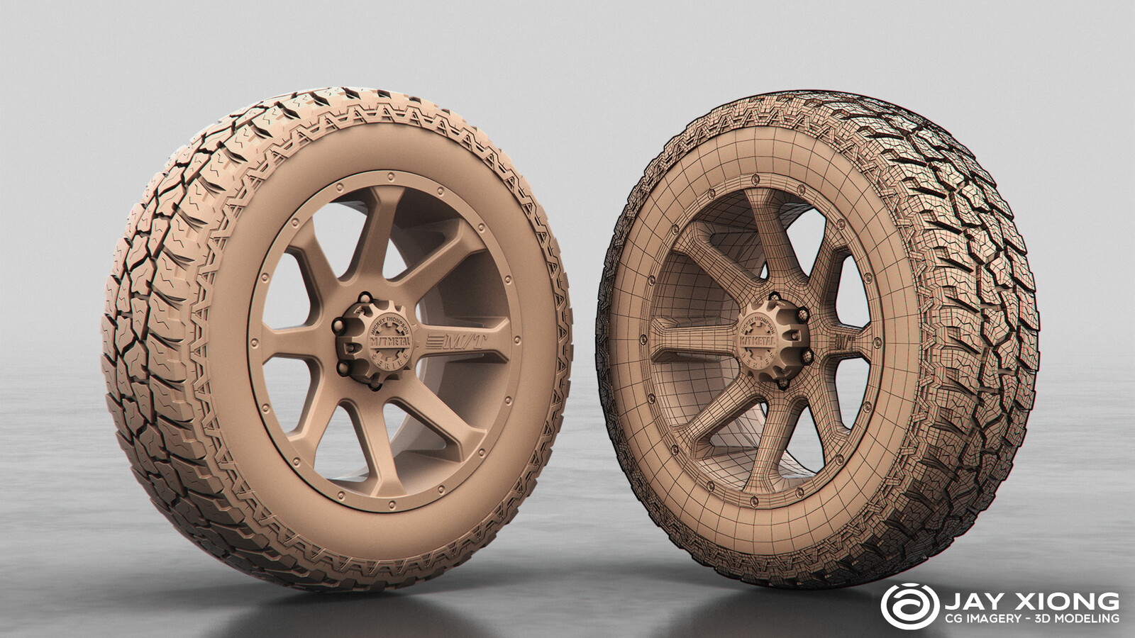 Mickey Thompson MM-366 Wheel & Mickey Thompson Baja ATZ Tire (CAD modeling for center cap and polygons for everything else)