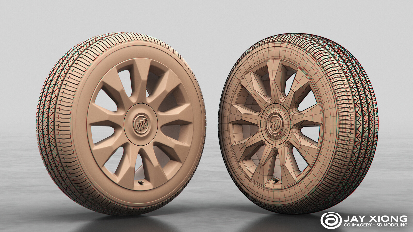 2011 Buick Enclave Wheel & Bridgestone Dueler H/P 92A Tire (Buick logo cap from existing CAD data)