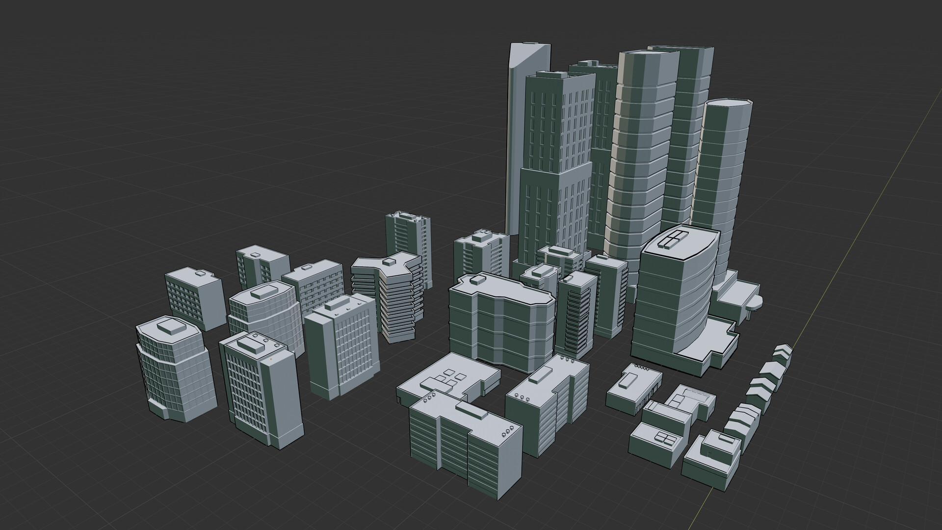 Modelled a variety of building assets in Blender to be used to generate a cityscape