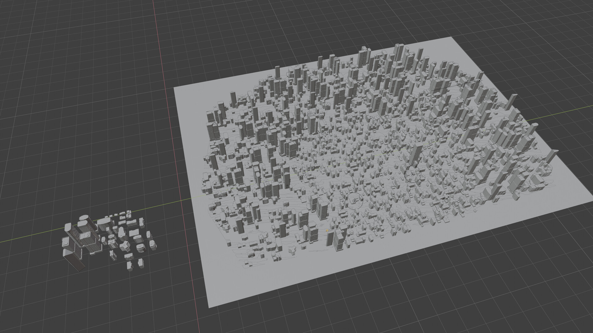 Used a Particle System modifier to generate a cityscape. (Blender)