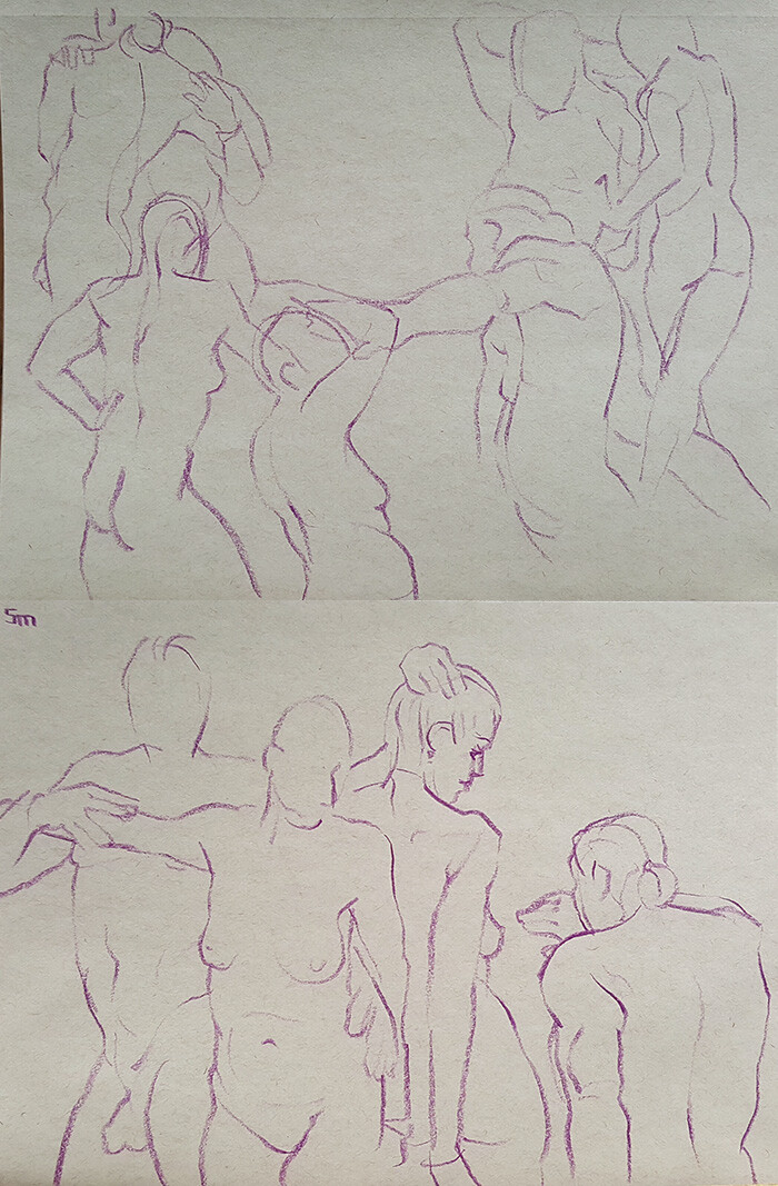 These two models were great to draw together. The collections of short poses often resembled a dance.