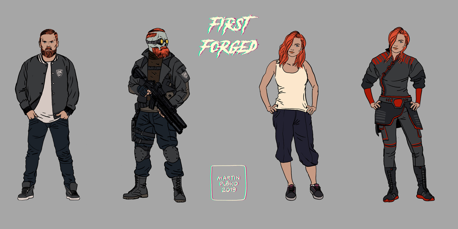 The main character and his sister, in regular and combat ready clothes. the hero later changes into a superhero with a skull head.