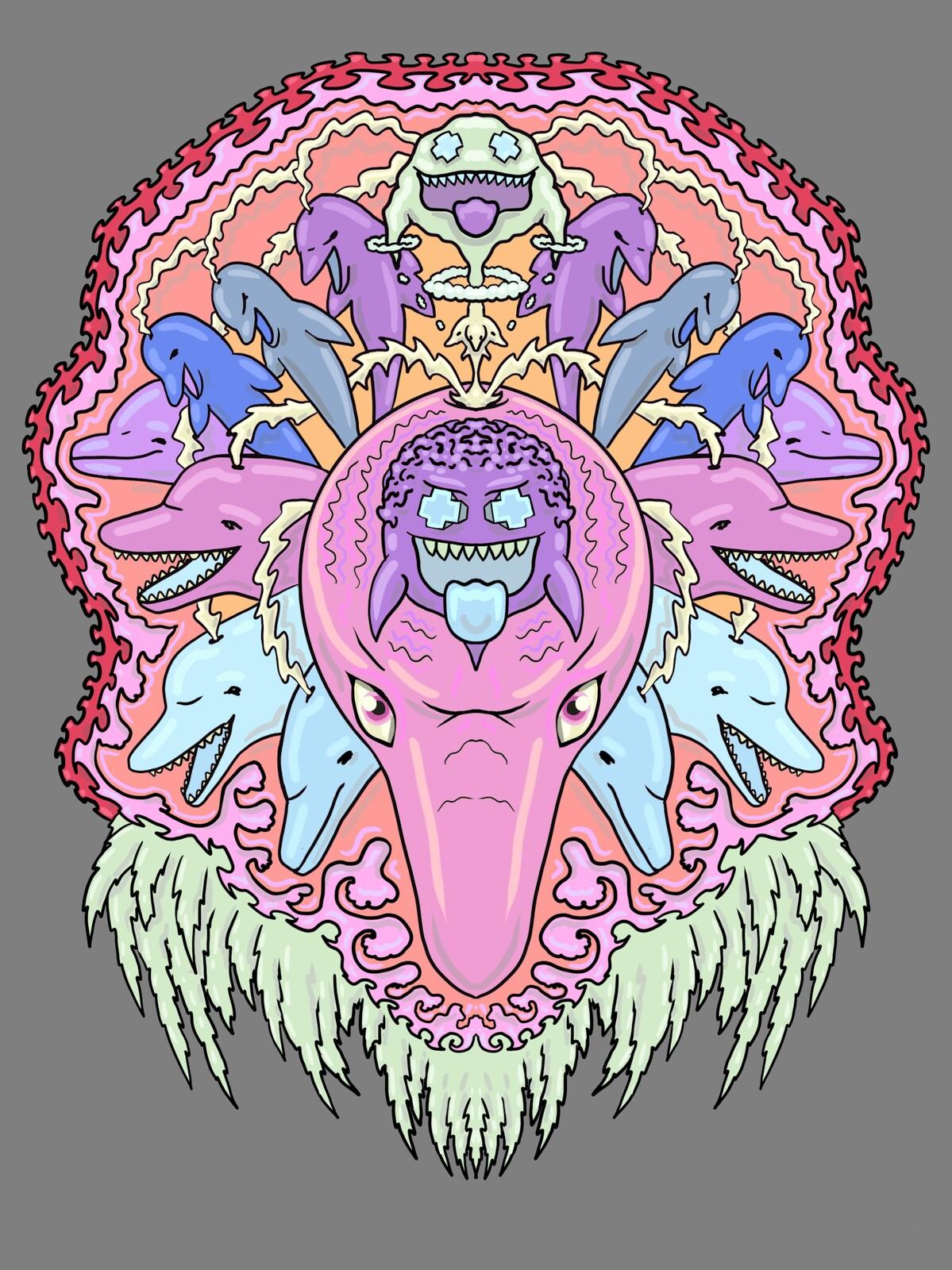 Pink Dolphin Illustration
