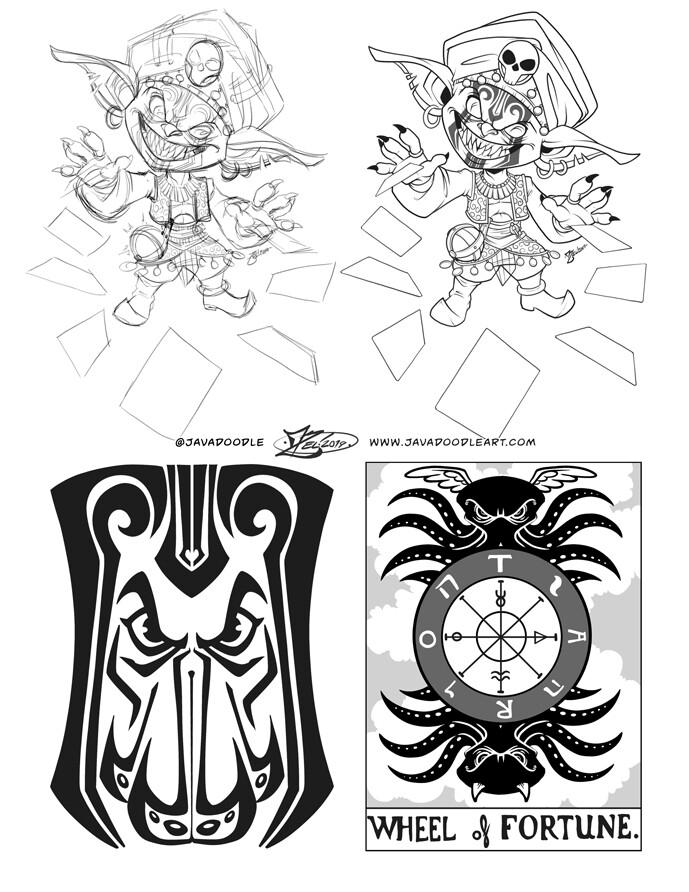 Sketch, Line art, and tarot card design work.