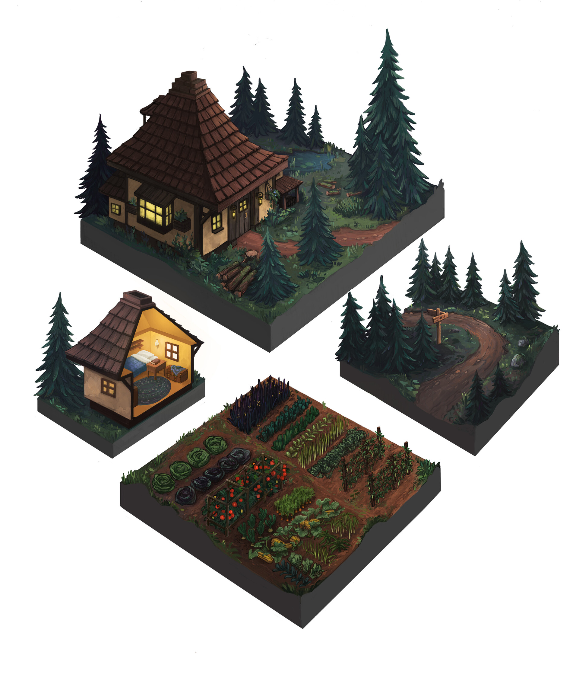 witches house, garden and forest path