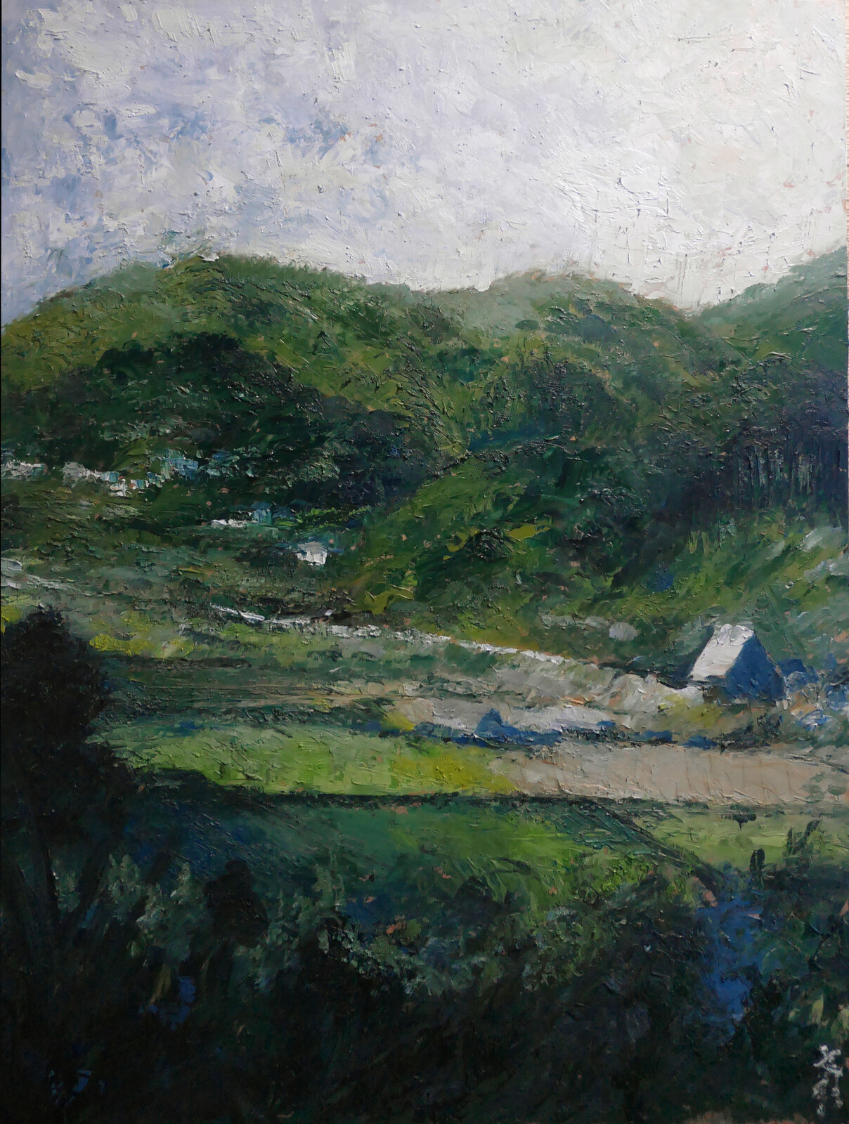 Oil painting   pallet knife countryside