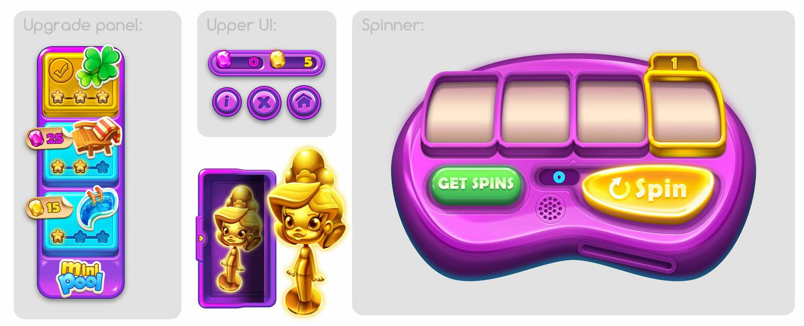 Upgrade menu & spinner
