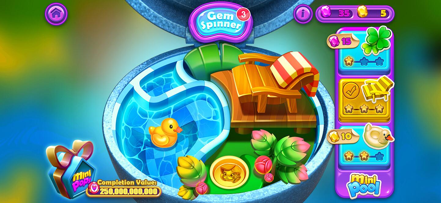 Mini screen - where you can upgrade your mini using gems & super gems.