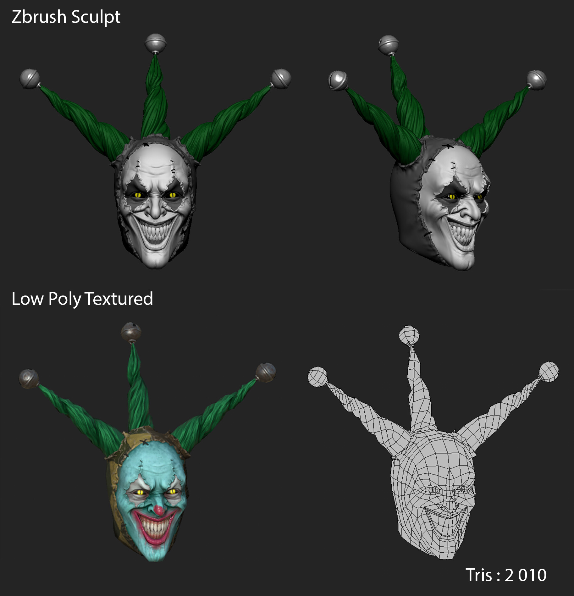 Responsible for hi poly sculpt, low poly game model, UV-ing, baking, texturing and look-dev in game engine.