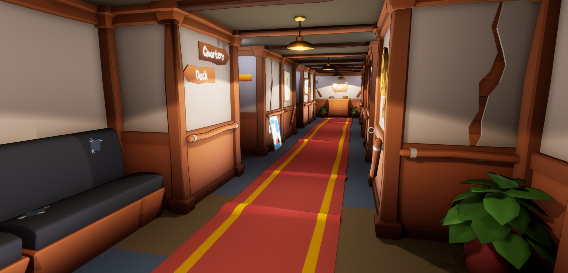 We decided to keep the below deck area clean, as multiple characters would be travelling throughout this area and we did not want to make it cluttered.