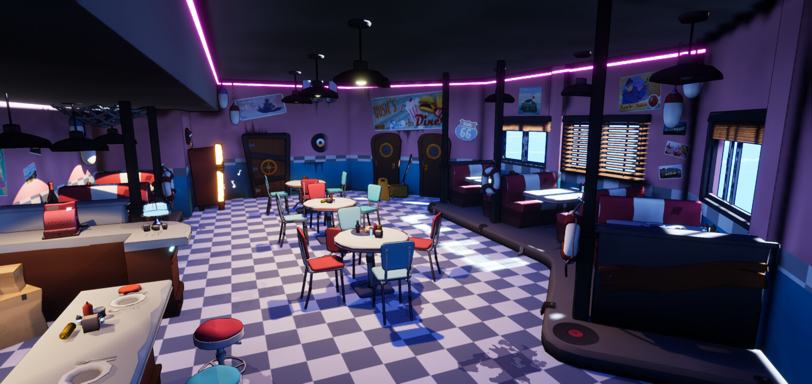 The diner in the middle of the ship. This room had to convey a 50s/60s feel and after making multiple moodboards and concept sketches for this room we settled on this current look.