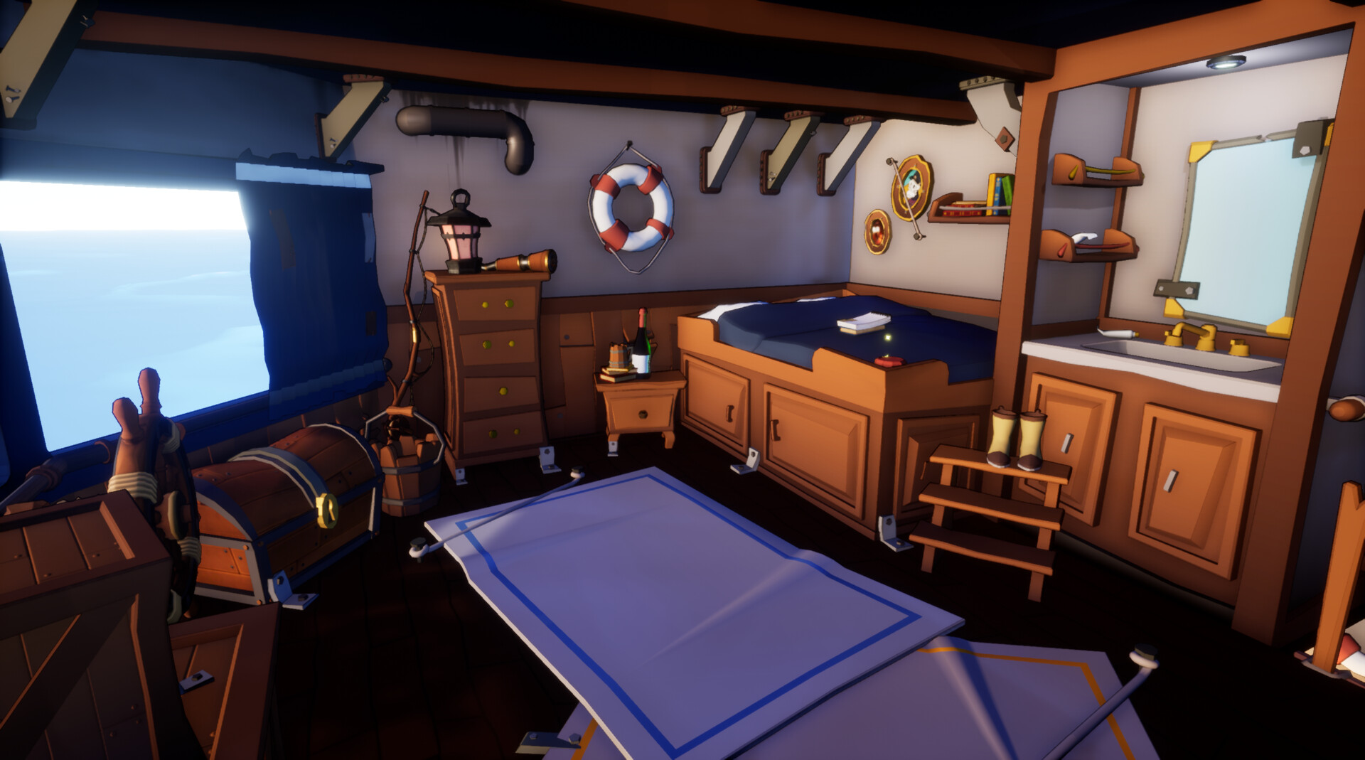 I was partially responsible for creating props and worldbuilding of this cabin. 