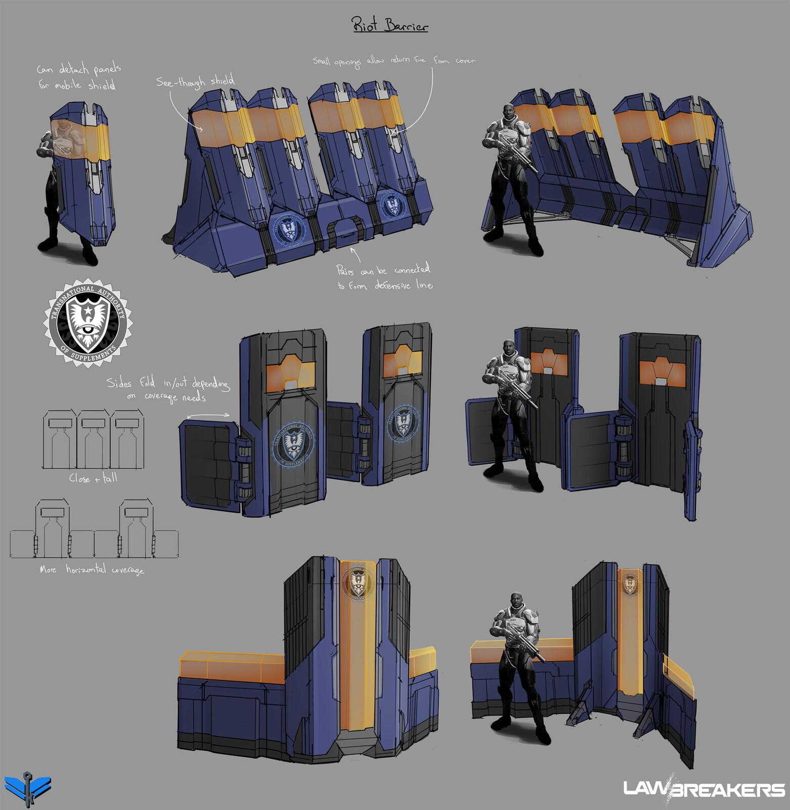 Riot barrier prop concepts