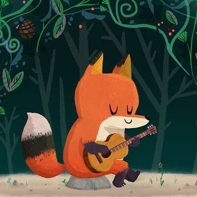 A Fox and her guitar