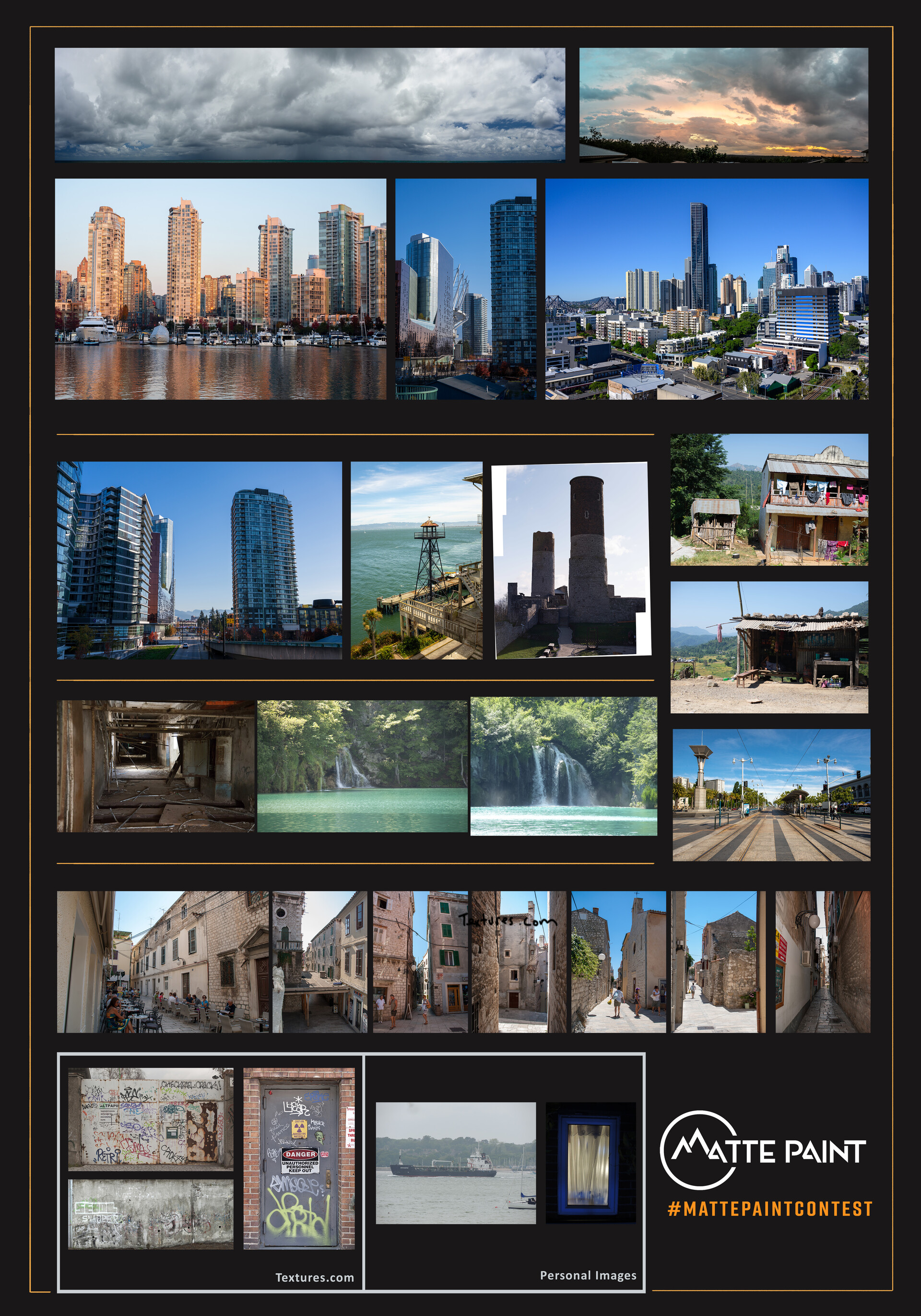 Composite Sheet - Except where stated otherwise, all images from MattePaint.com