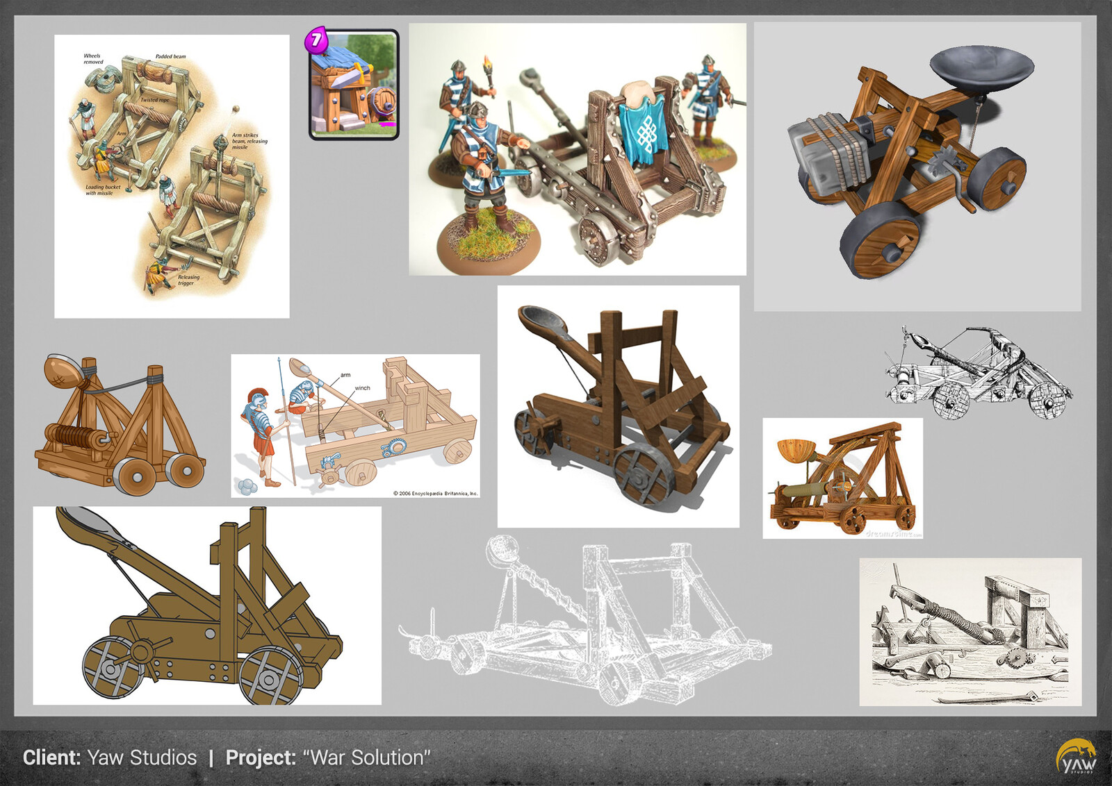 first research about catapults and its mechanisms