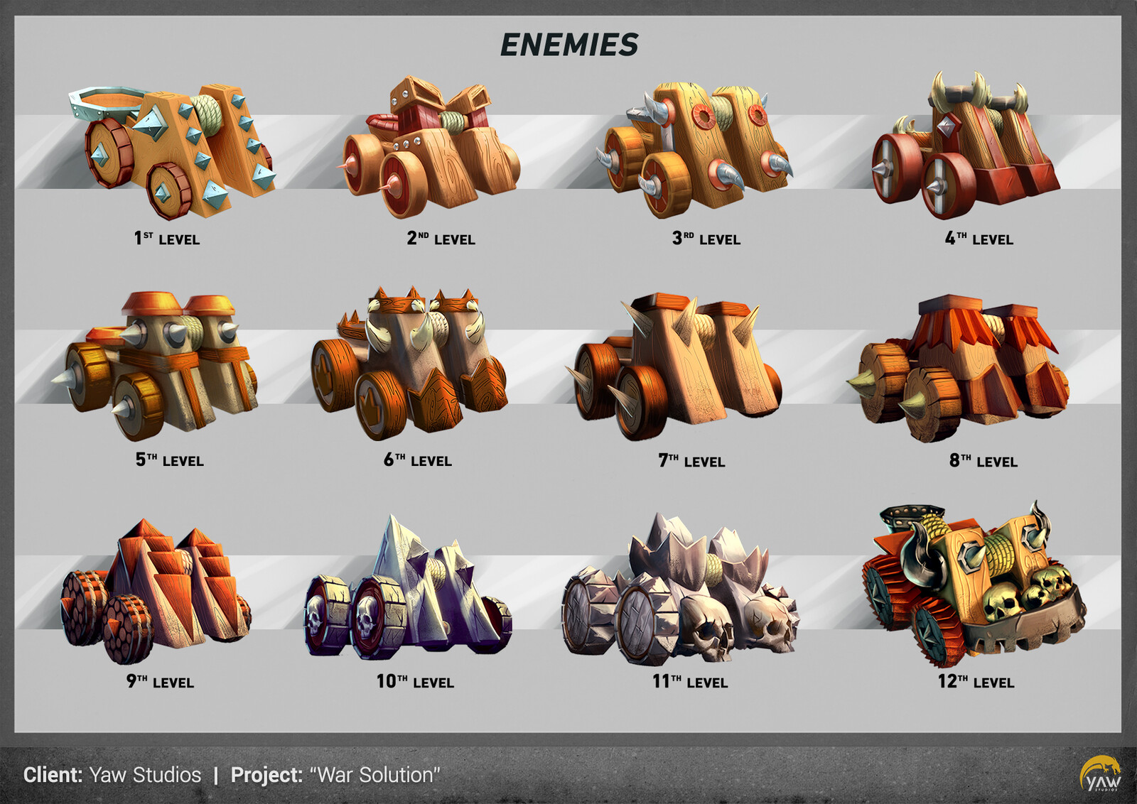 And 12 different designs for the enemy army.