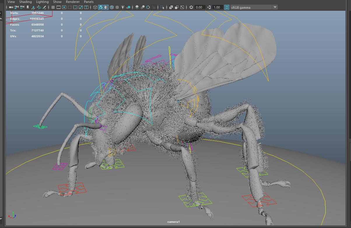 Maya screengrab of the bee model with fur