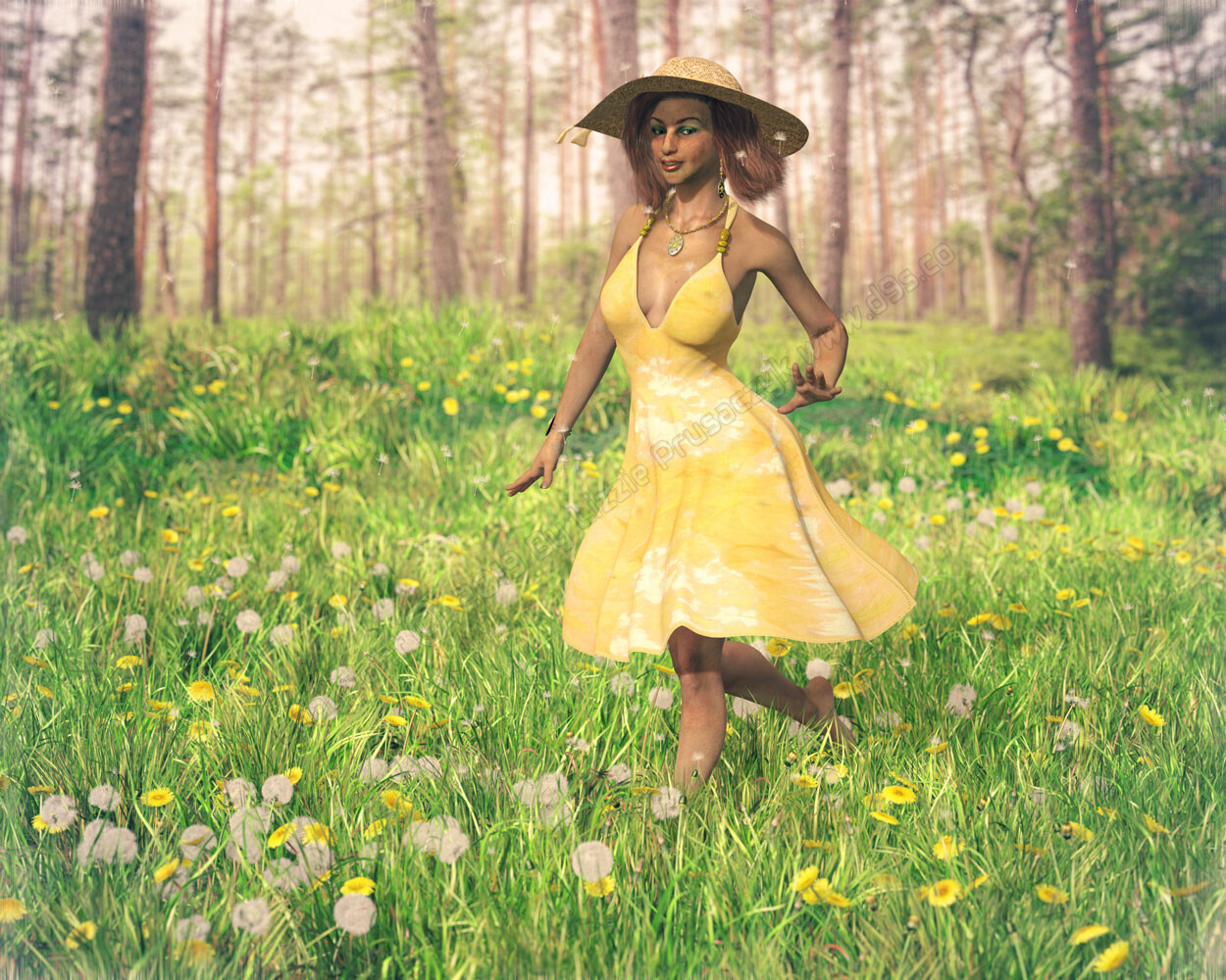 On a bright summer day, a woman runs through a field of dandelions by the forest's edge as the dandelion seeds float through the air.