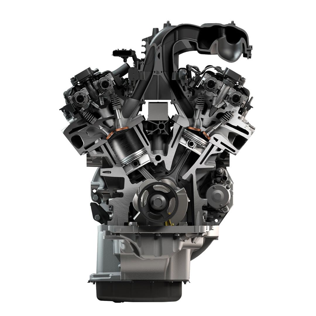 RAM 1500 Engine Cutaway Tasks: Modeling (partial), Materials, Lighting, & Retouching