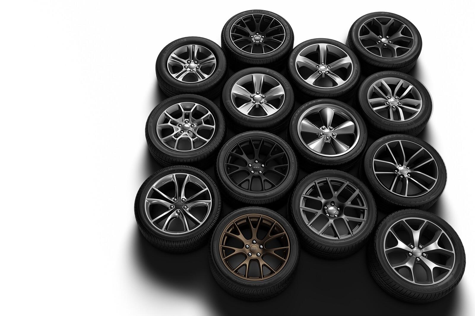 Dodge Challenger Wheels & Tires: Fully CG Tasks: Materials, Lighting, & Retouching
