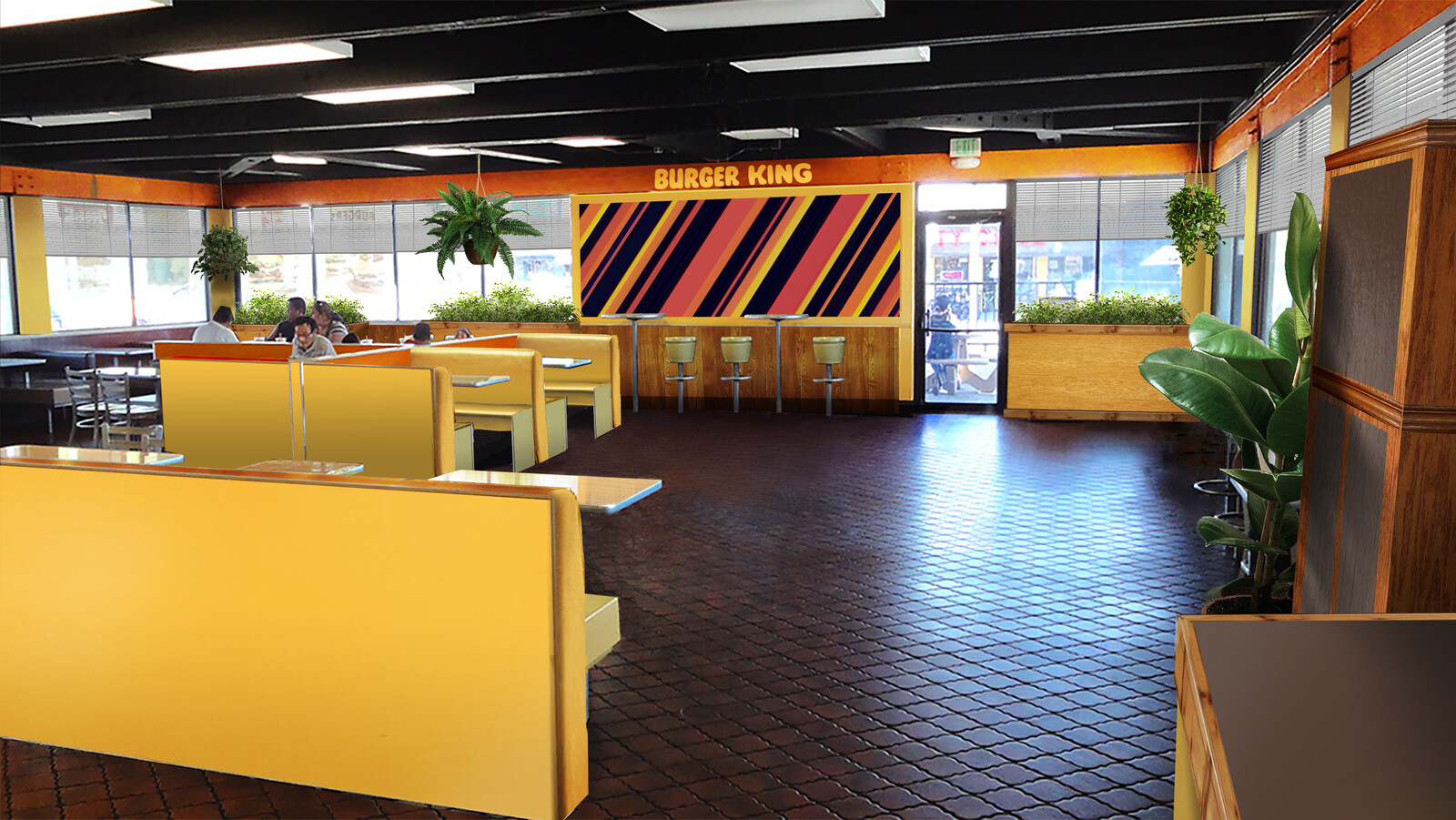 Retro Burger King set design.