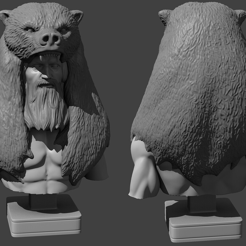 Warrior/hunter character sculpture