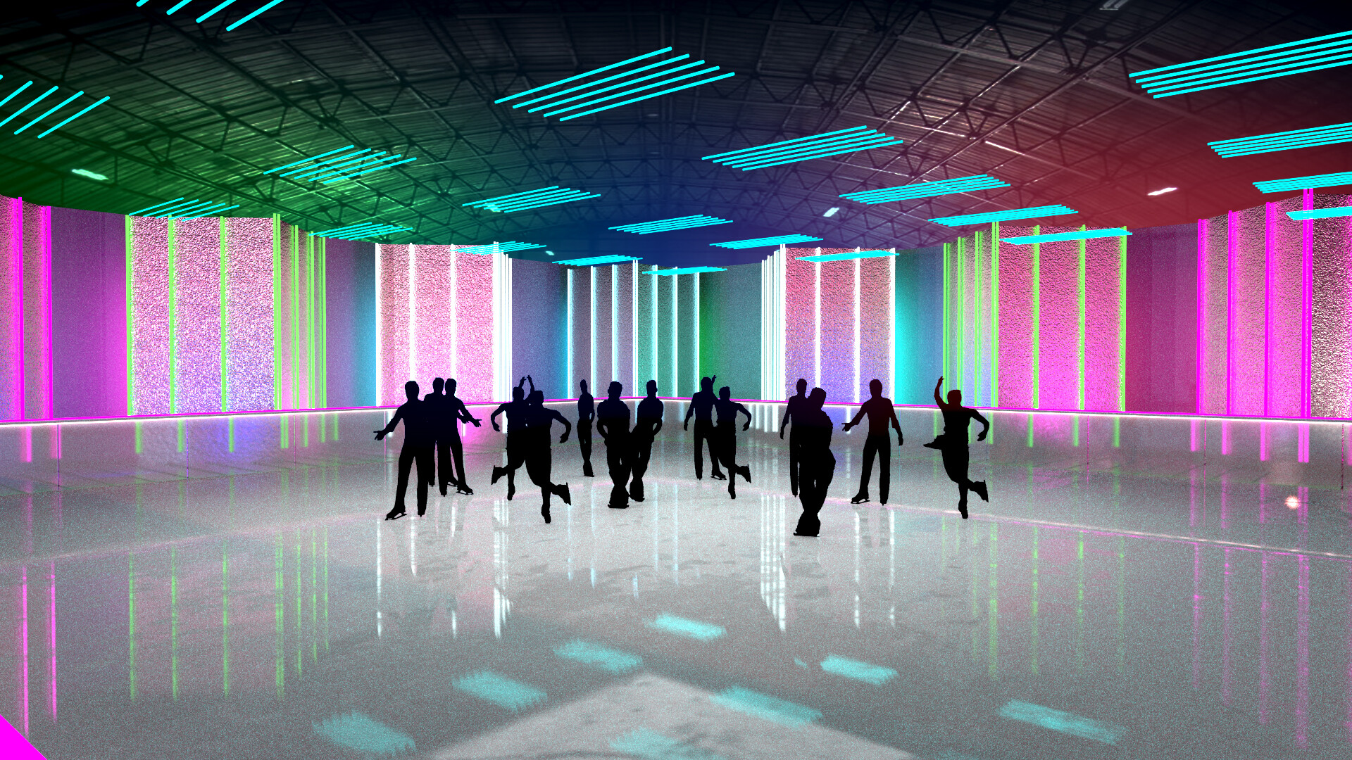 Imery watson set walls neon multi toplight venuelightsgrid2 blue 240tubes bg