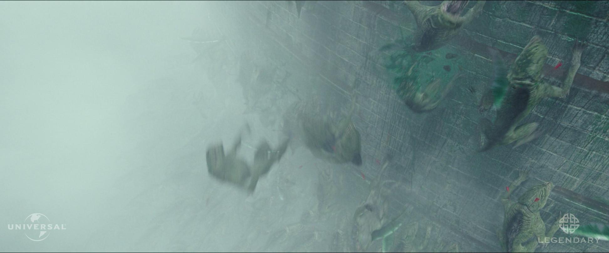 CG Wall Textural Enhancements and Green Blood Splatter effects.