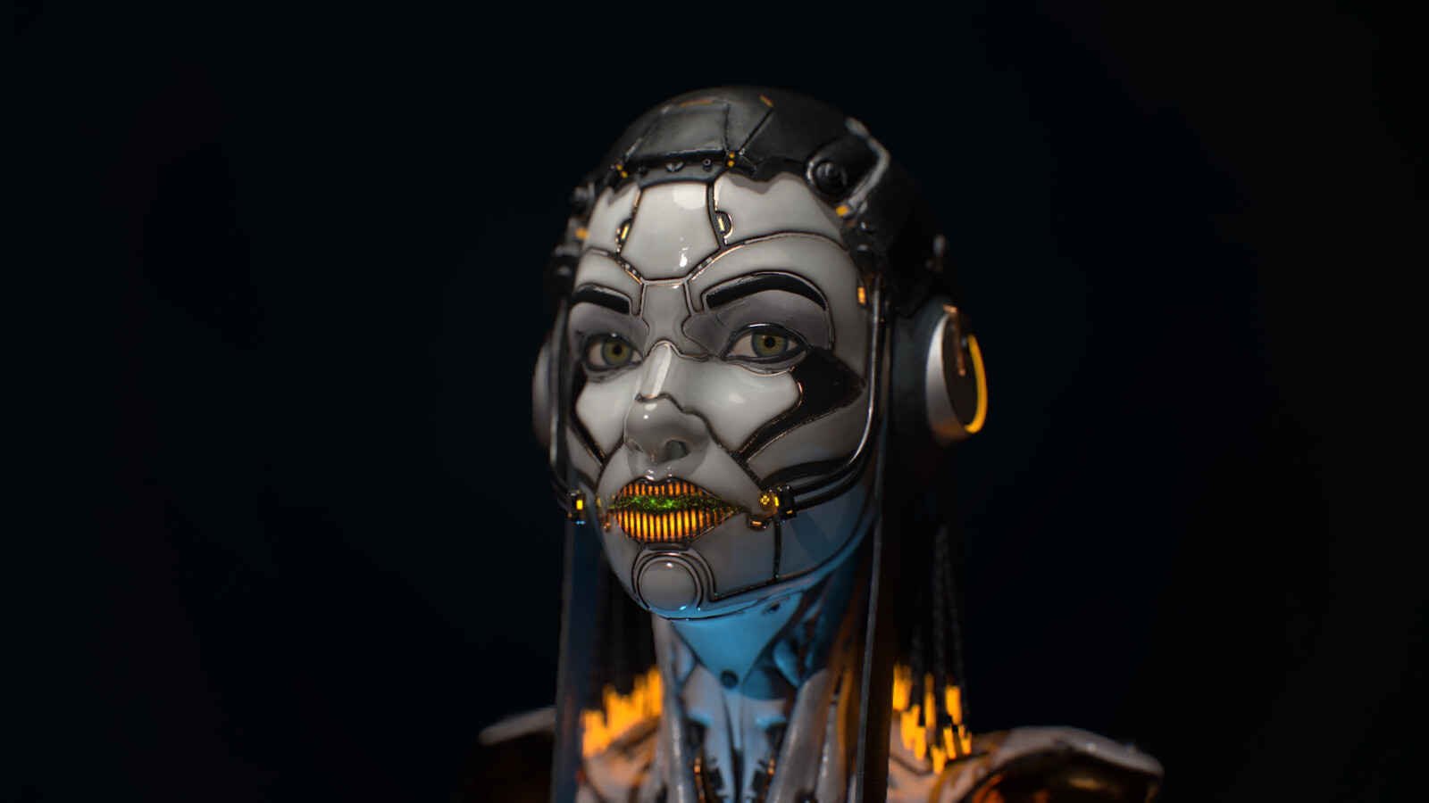Android concept face with hologram on