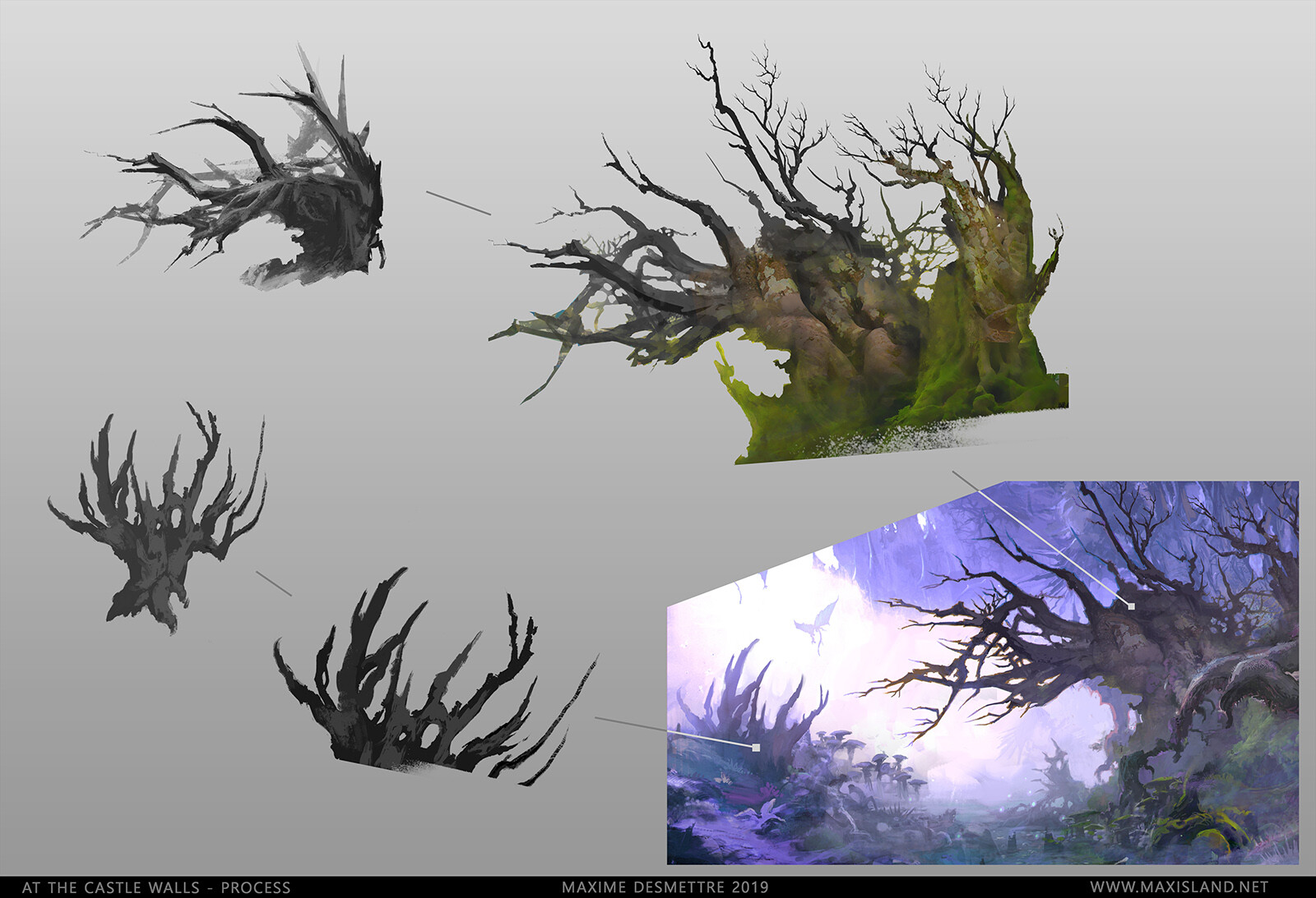 In this example : I'm showing the initial tree shapes that led to the final result. If you're looking for similar shapes to use in your work, have a look at my store :  https://www.artstation.com/maxisland/store