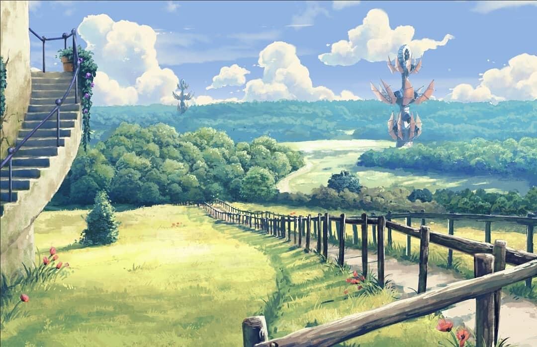 calm hills with fantasy wind turbines\mills