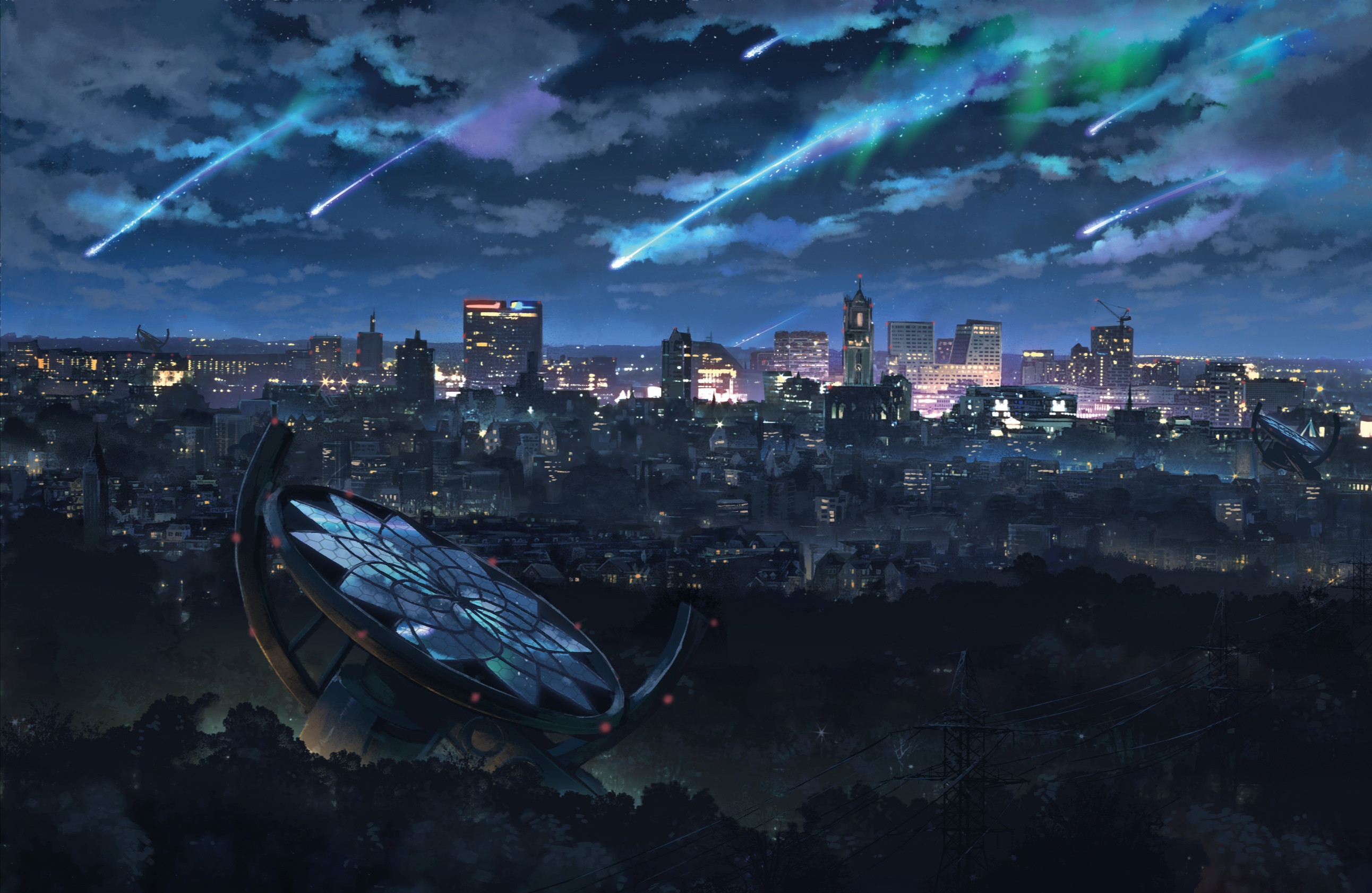 city at night with dreamcatcher starlight panels heavily inspired by the movie  'your name'