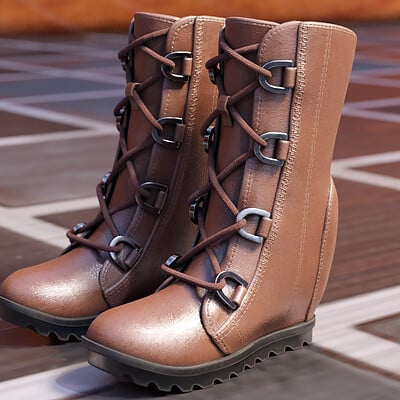Phong ly brown leather boots ladies 1