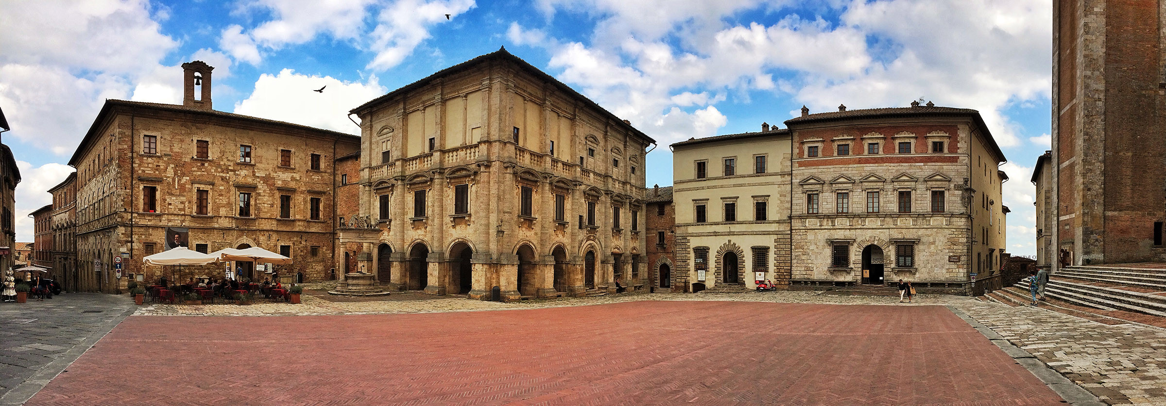 One of the main piazzas inside Montepulciano.