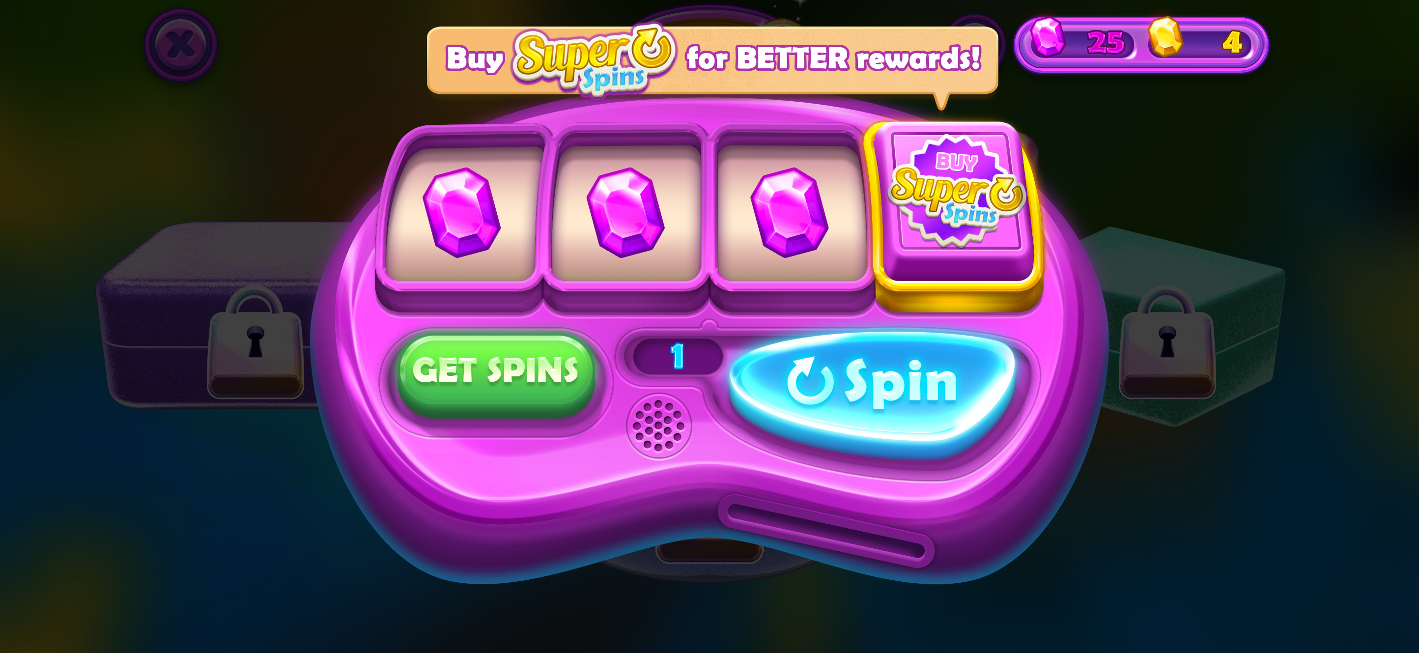 Purchase Super Spins for an extra reel on the spinner and a better chance for Super Gems.