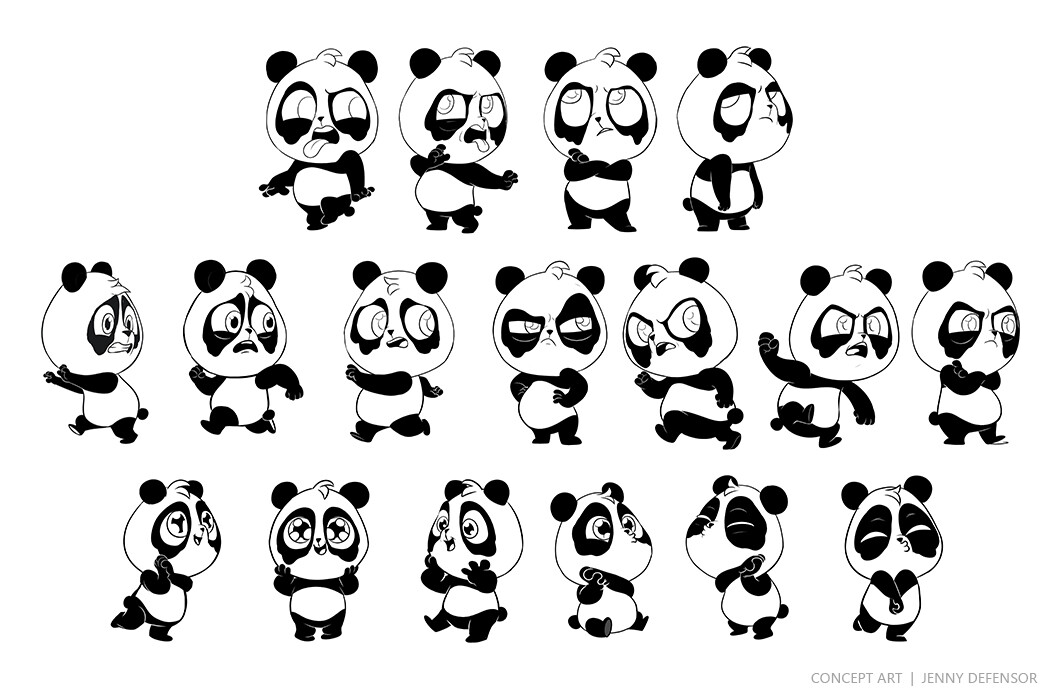 Jenny defensor panda poses