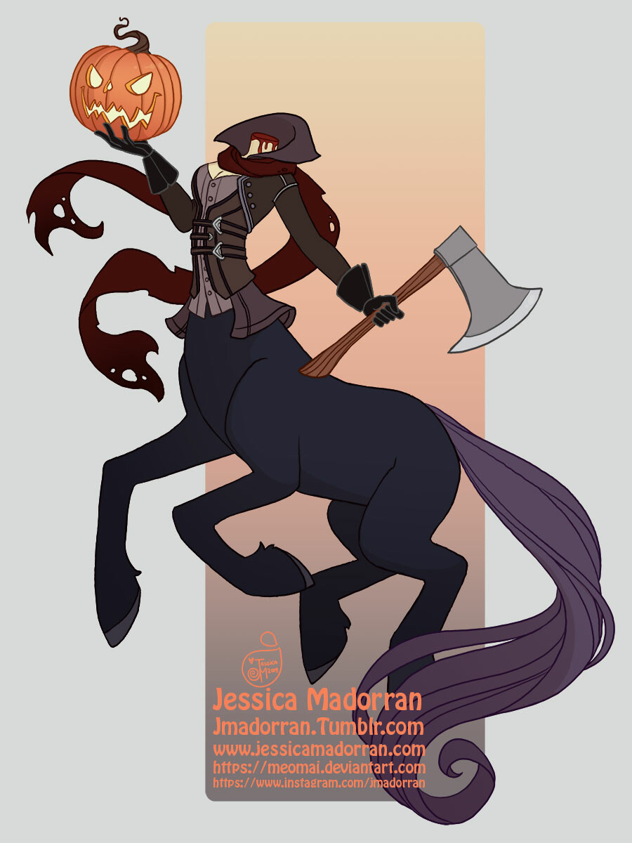 Jessica madorran character design drawlloween headless horse centaur 2019 artstation