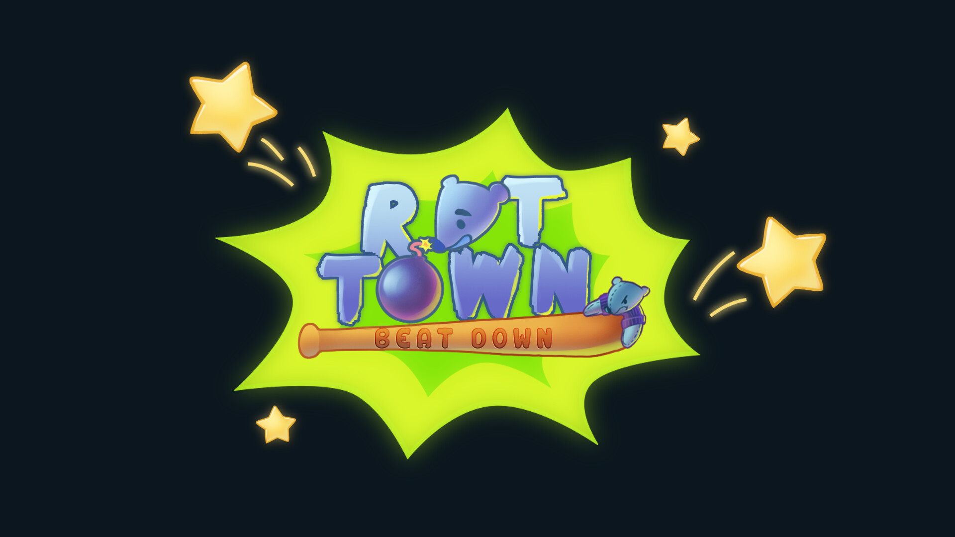 """Final logo and menu screen. The """"bonk"""" colour was changed to lime green to fit the green sewer goo in the game. The font was also changed to a less cutesy and rounded font to fit the grungy sewer theme also."""